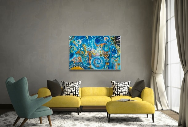 (CreativeWork) Fusion by Renee Teau. Acrylic Paint. Shop online at Bluethumb.