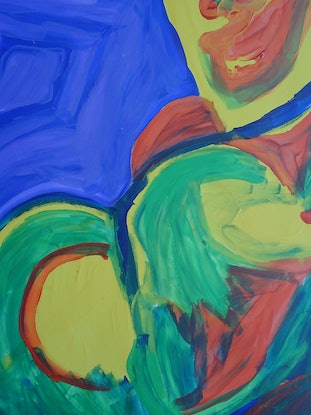 (CreativeWork) THE BODY BUILDER 55. by Paula Reilly. Acrylic Paint. Shop online at Bluethumb.