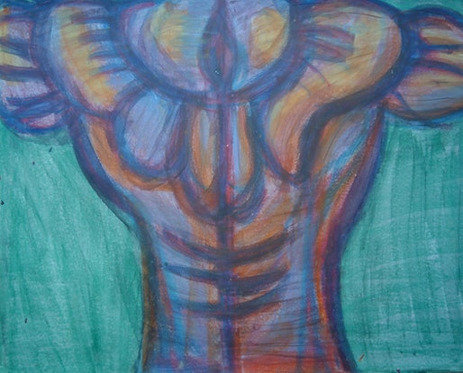 (CreativeWork) THE BODY BUILDER 58. by Paula Reilly. Mixed Media. Shop online at Bluethumb.