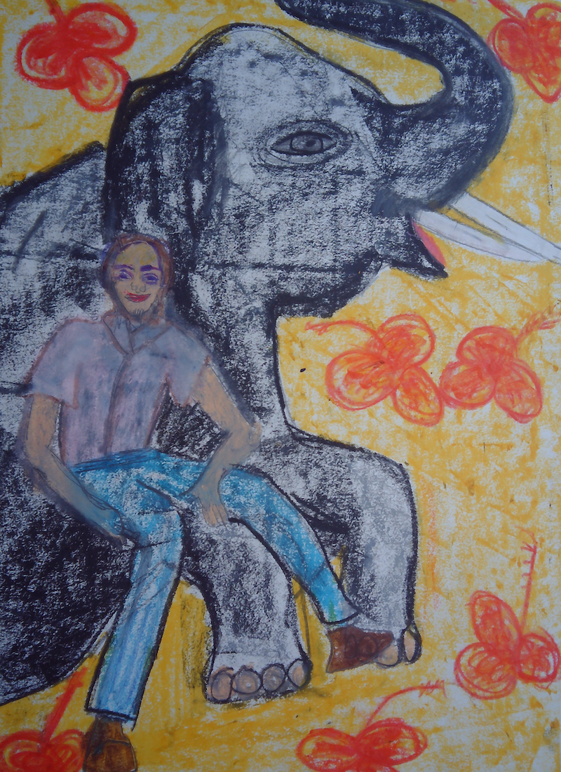 (CreativeWork) ELEPHANT FRIEND. by Paula Reilly. Drawings. Shop online at Bluethumb.