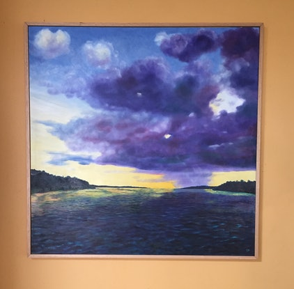 (CreativeWork) Sunset, Storm, Amazon by Dennis Arnold. Oil Paint. Shop online at Bluethumb.