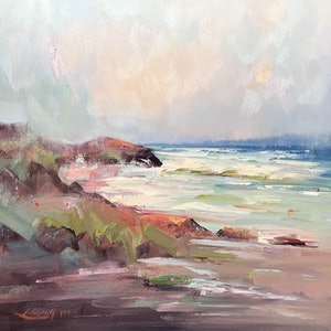 (CreativeWork) Rocks at Portsea Back beach by Liliana Gigovic. Oil Paint. Shop online at Bluethumb.