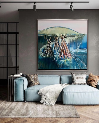 (CreativeWork) After the Storm Palm Beach - Study  by Shane Bowden. Acrylic Paint. Shop online at Bluethumb.
