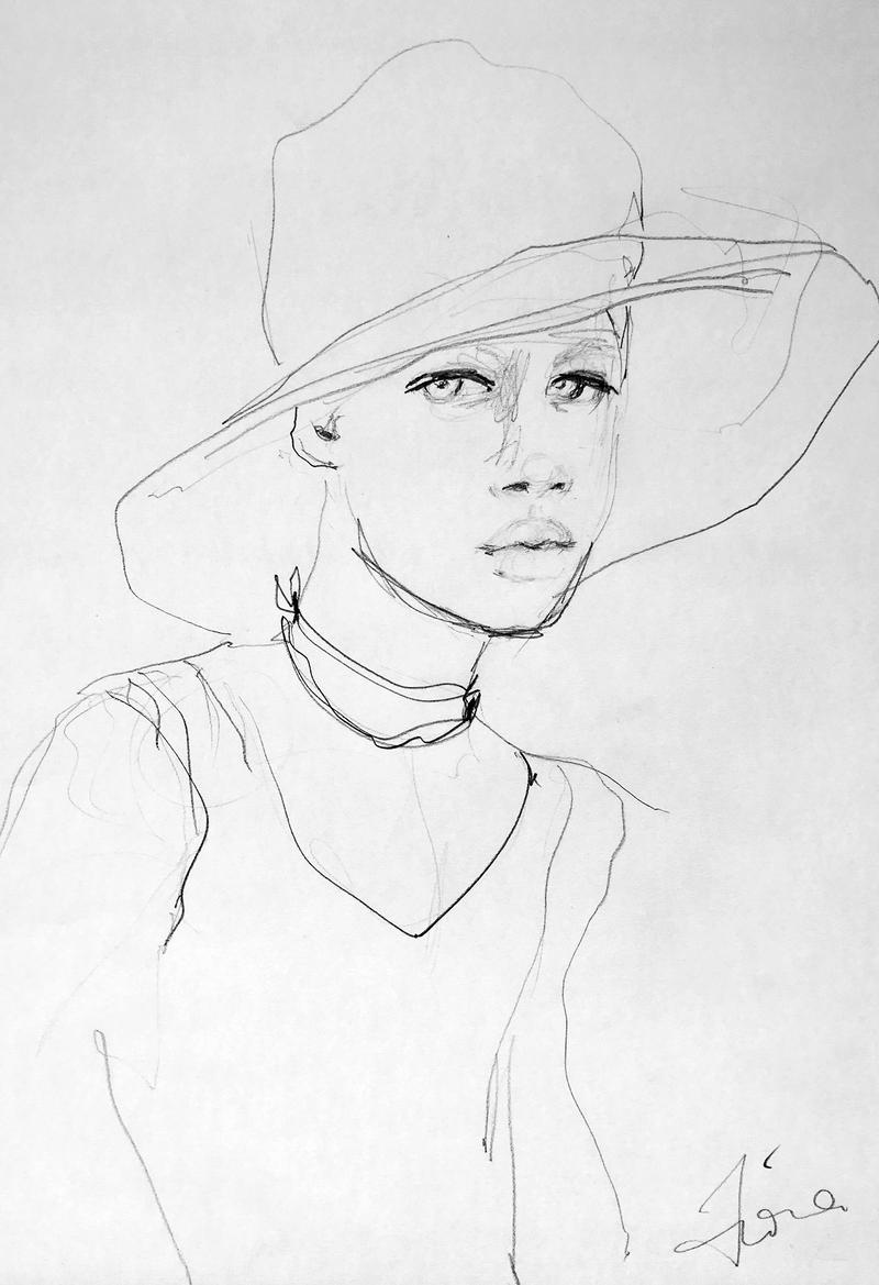 (CreativeWork) Young boy in hat by Fiona Maclean. Drawings. Shop online at Bluethumb.