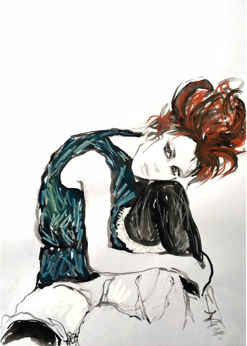 (CreativeWork) Seated Girl - my version of Egon Schiele I by Fiona Maclean. Drawings. Shop online at Bluethumb.
