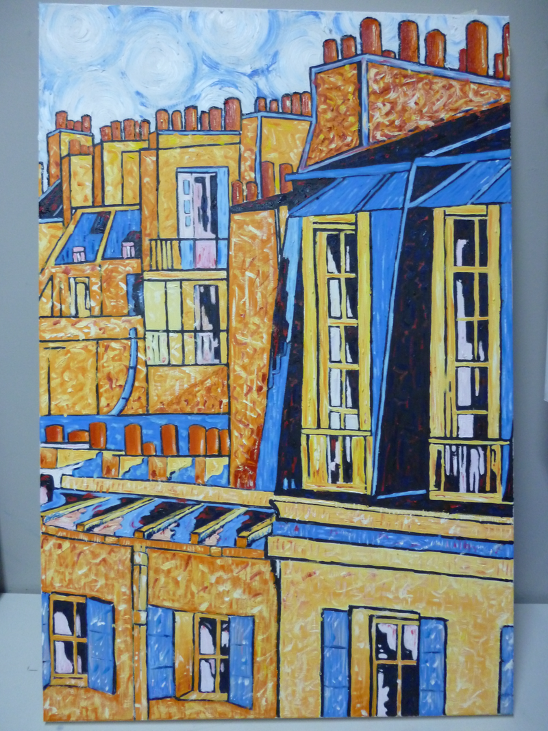 (CreativeWork) 'PARIS ROOFTOPS ORANGE AND BLUE 2' by Nicholas Belchamber. Oil Paint. Shop online at Bluethumb.