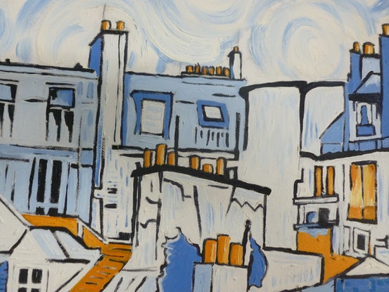 (CreativeWork) 'Paris Roof-scape in Orange and Blue' by Nicholas Belchamber. Oil Paint. Shop online at Bluethumb.