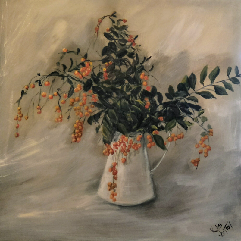 (CreativeWork) Pittosporum berries by Kylie van Tol. Acrylic Paint. Shop online at Bluethumb.