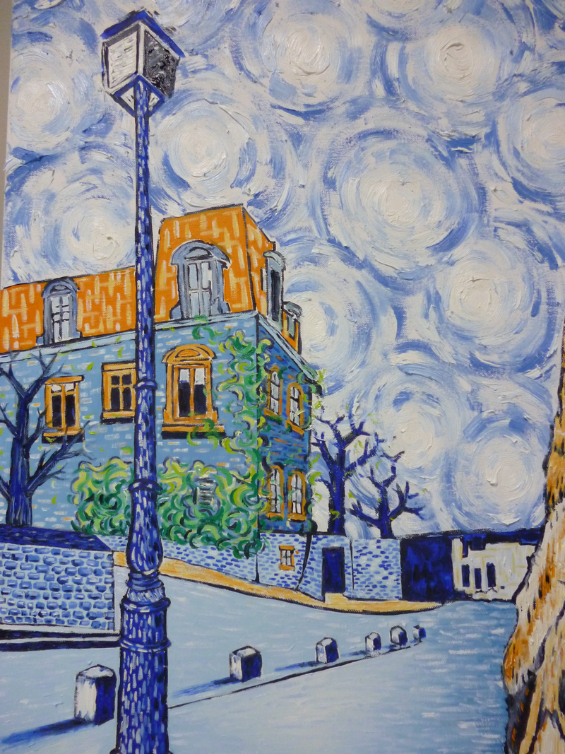 (CreativeWork) 'MONTMARTRE - A STARRY NIGHT IN ORANGE AND BLUE' by Nicholas Belchamber. Oil Paint. Shop online at Bluethumb.