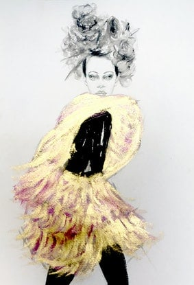 (CreativeWork) Rosie in gold by Fiona Maclean. Drawings. Shop online at Bluethumb.
