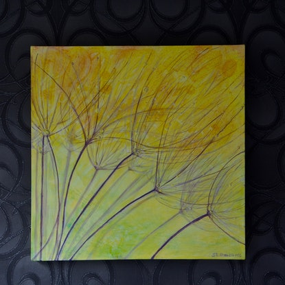 (CreativeWork) Dancing Dandelions  by Sue Shakeshaft. Mixed Media. Shop online at Bluethumb.