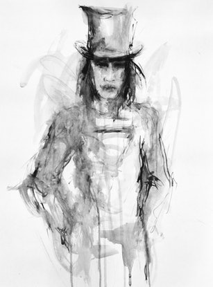(CreativeWork) Superman in top hat by Fiona Maclean. Watercolour Paint. Shop online at Bluethumb.