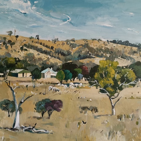 (CreativeWork) Australian  landscape - Grazing Sheep by Susan Trudinger. Acrylic Paint. Shop online at Bluethumb.