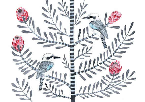 (CreativeWork) Kookaburras on Llewellyn Street Protea Ed. 26 of 50 by Sally Browne. Print. Shop online at Bluethumb.