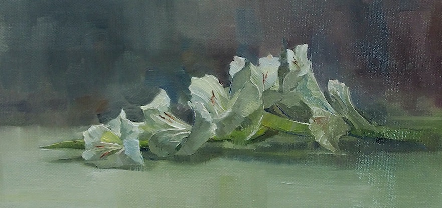 (CreativeWork) Gladiolus on a rainy day by Colleen Stapleton. Oil Paint. Shop online at Bluethumb.