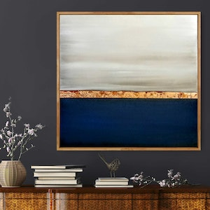 (CreativeWork) Blue Bay Framed abstract seascape - Beach art by Josephine Ann Pitsiava. #<Filter:0x00007fc1da202e68>. Shop online at Bluethumb.