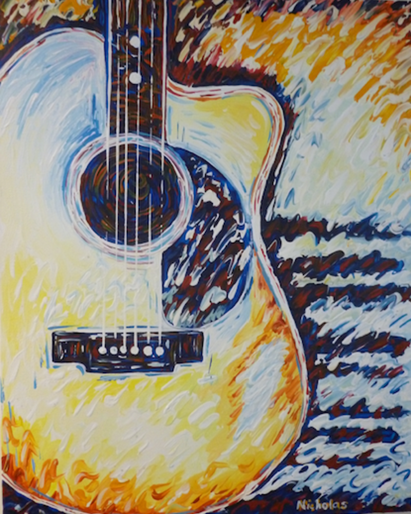 (CreativeWork) 'SMOKE ON THE WATER - GUITAR' by Nicholas Belchamber. Acrylic Paint. Shop online at Bluethumb.