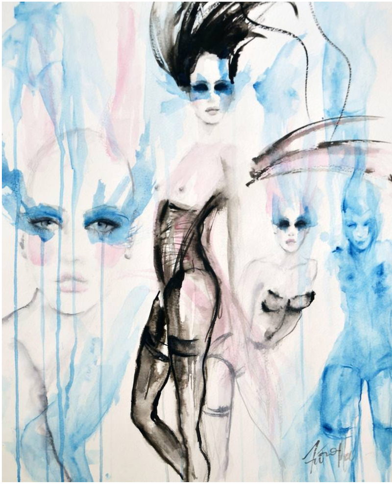 (CreativeWork) Blue Dancers No.2 by Fiona Maclean. Watercolour Paint. Shop online at Bluethumb.