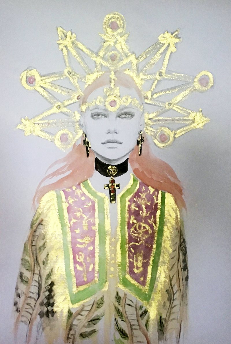 (CreativeWork) Camille in gold by Fiona Maclean. Drawings. Shop online at Bluethumb.