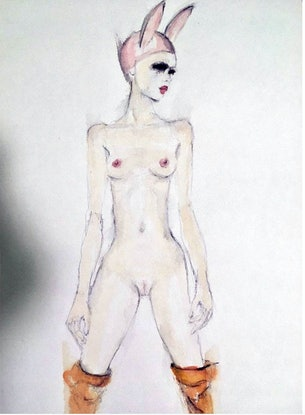 (CreativeWork) My version of Egon Schiele's strong woman  by Fiona Maclean. Watercolour Paint. Shop online at Bluethumb.