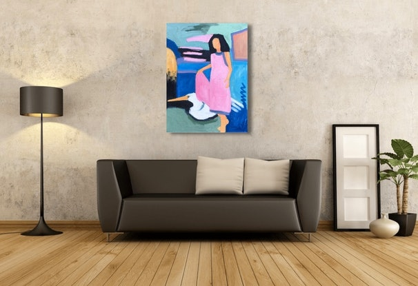 (CreativeWork) Pretty in Pink by sara bell. Oil Paint. Shop online at Bluethumb.