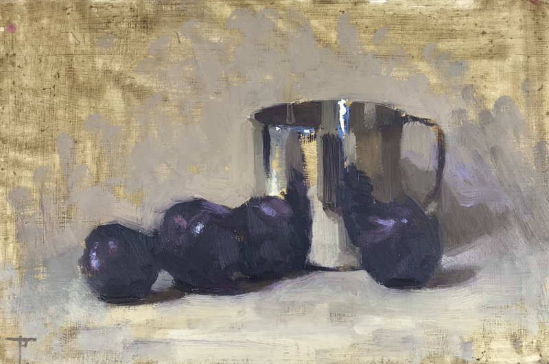 (CreativeWork) Plums With Metal Jug by Pablo Tapia. Oil Paint. Shop online at Bluethumb.