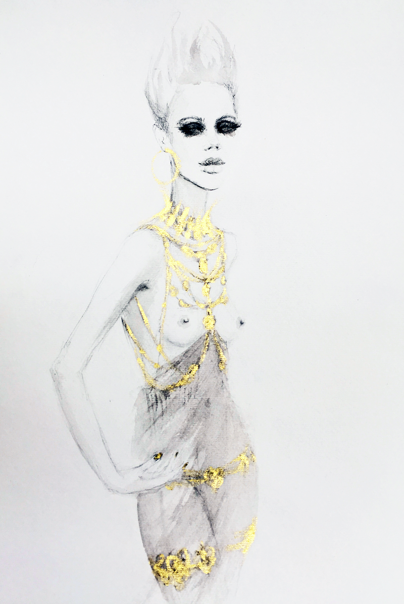 (CreativeWork) Shalom in gold by Fiona Maclean. Watercolour Paint. Shop online at Bluethumb.