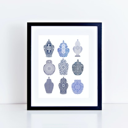 (CreativeWork) Playing card ginger jars Ed. 9 of 25 by Jenn Bell. Print. Shop online at Bluethumb.