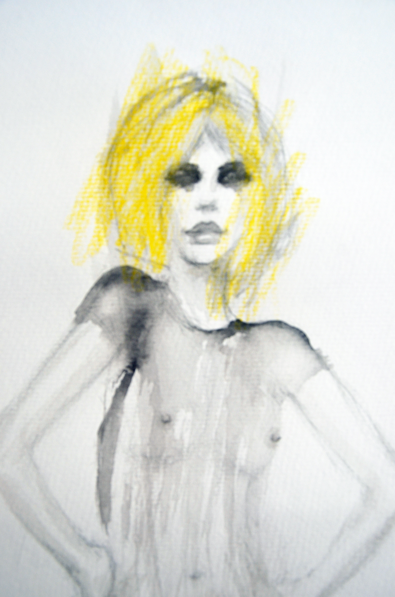 (CreativeWork) Study of woman in see through dress by Fiona Maclean. Drawings. Shop online at Bluethumb.