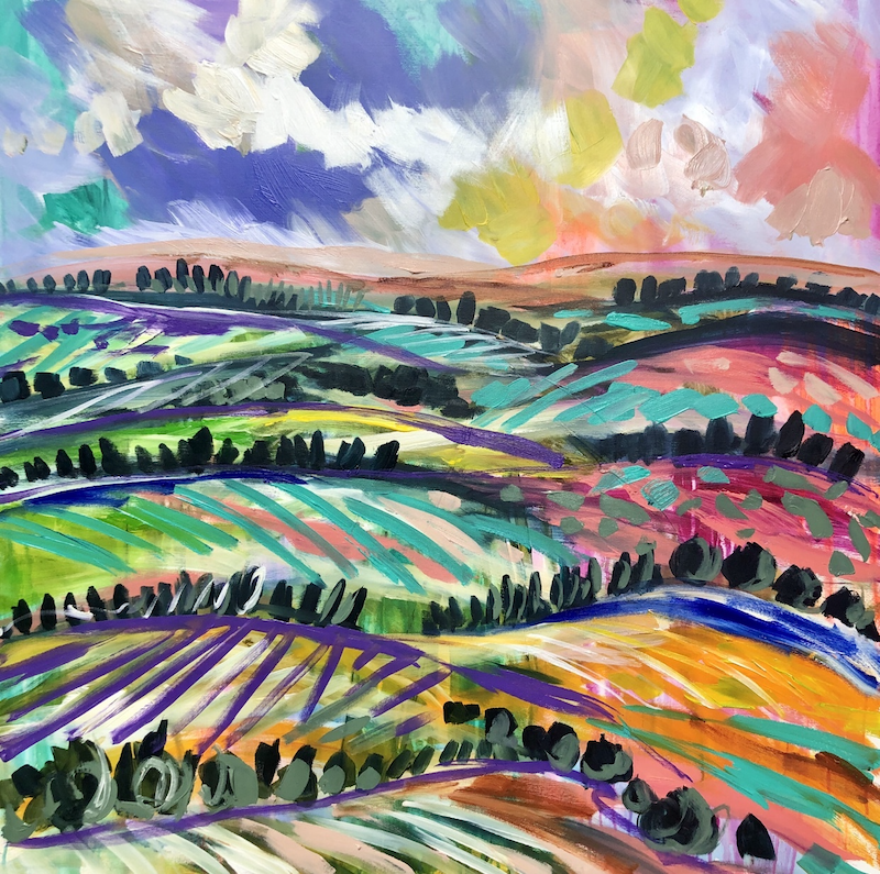 (CreativeWork) the rising hills  by Amanda Brooks. Acrylic Paint. Shop online at Bluethumb.