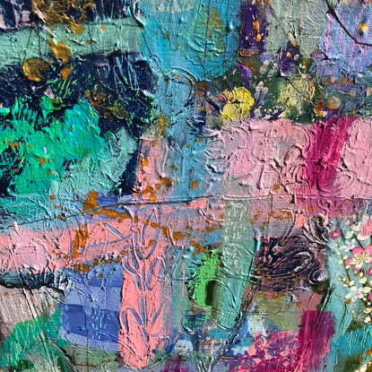 (CreativeWork) Pink Fizz by Sandra Oost. Mixed Media. Shop online at Bluethumb.