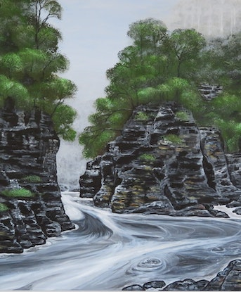 (CreativeWork) Rock Island Bend by Denise Balson. Acrylic Paint. Shop online at Bluethumb.
