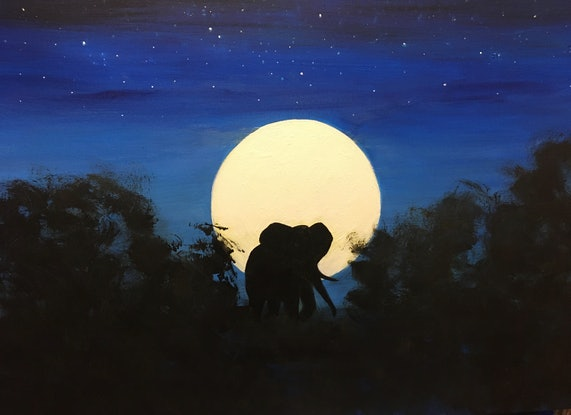 (CreativeWork) Full Moon by Denise Park. Acrylic Paint. Shop online at Bluethumb.