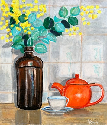 (CreativeWork) Orange Teapot With Acacia by Dominika Keller. Drawings. Shop online at Bluethumb.