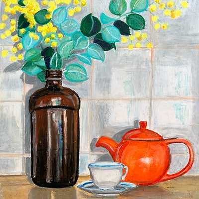 (CreativeWork) Orange Teapot With Acacia by Dominika Keller. #<Filter:0x0000562f86edaa88>. Shop online at Bluethumb.