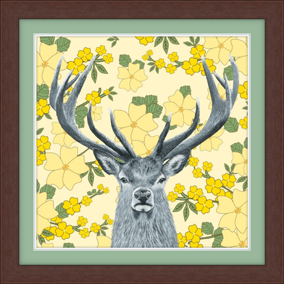 (CreativeWork) Deer within the flowers Ed. 20 of 150 by Johanna Larkin. Print. Shop online at Bluethumb.
