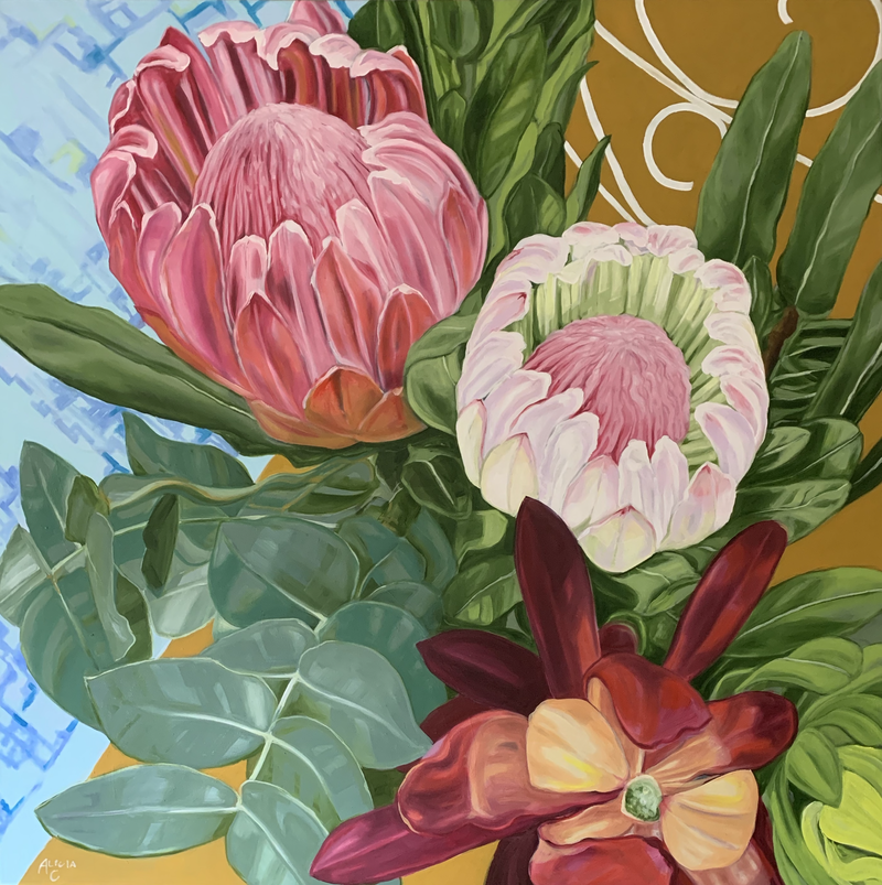 (CreativeWork) Scrolls and Proteas by Alicia Cornwell. Oil Paint. Shop online at Bluethumb.