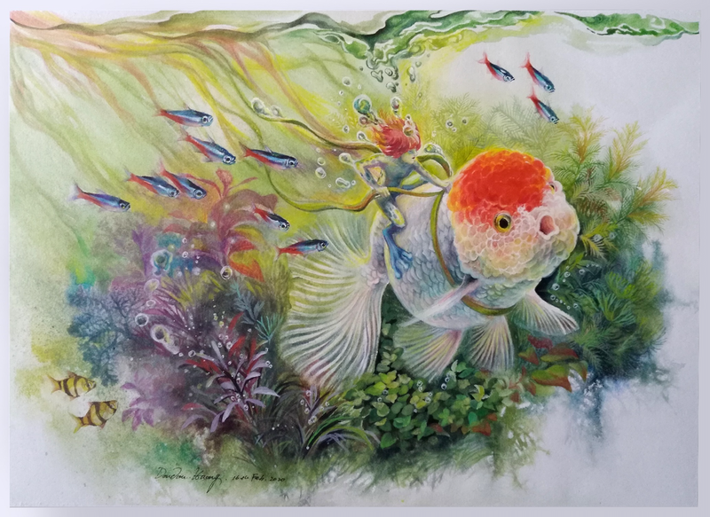(CreativeWork) Poseidon of Pond by Doudou Huang. Watercolour Paint. Shop online at Bluethumb.