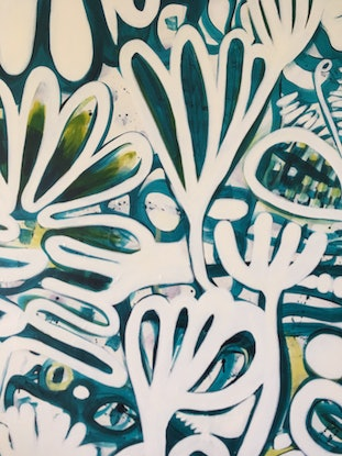 (CreativeWork) White Garden by Sarah Morrow. Acrylic Paint. Shop online at Bluethumb.