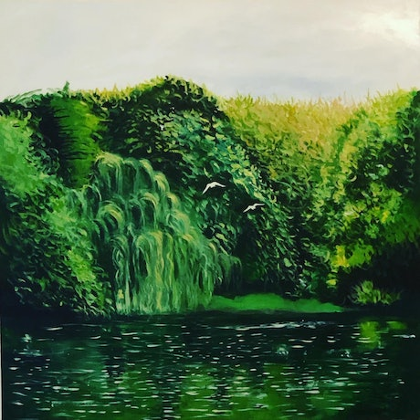 (CreativeWork) Birkenhead Park by Shabs Beigh. Acrylic Paint. Shop online at Bluethumb.