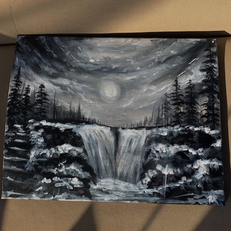 (CreativeWork) Moonlight  by rachael abraham. Acrylic Paint. Shop online at Bluethumb.