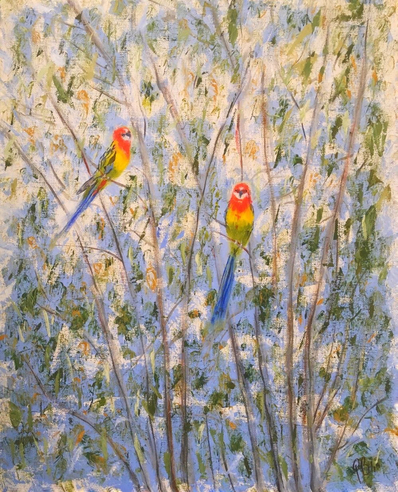 (CreativeWork) Rosellas by Paul Bartholomeusz. Oil Paint. Shop online at Bluethumb.