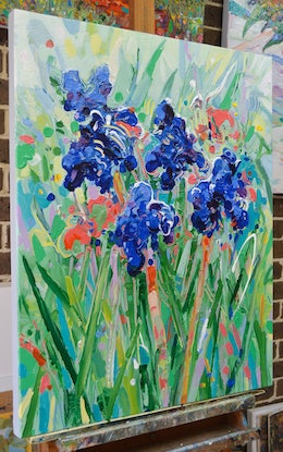 (CreativeWork) Blue Irises 2 - Framed (Commission for Richard) by Joseph Villanueva. Acrylic Paint. Shop online at Bluethumb.