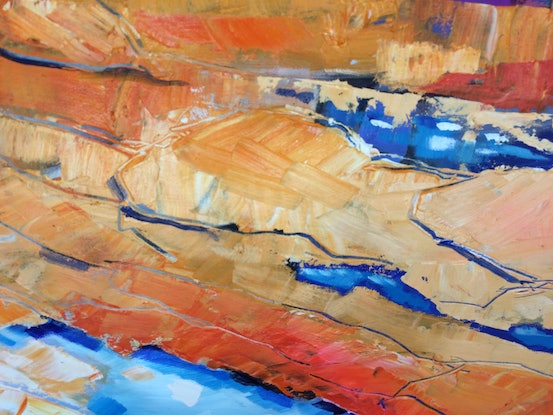 (CreativeWork) Sunset reef 1 by sue bannister. Oil Paint. Shop online at Bluethumb.