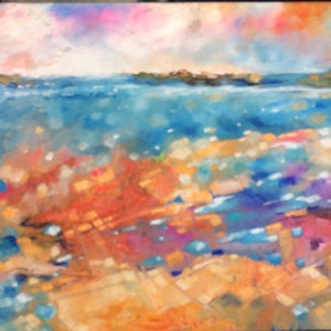 (CreativeWork) Sunset reef 2 by sue bannister. #<Filter:0x00007f7327ed5e58>. Shop online at Bluethumb.