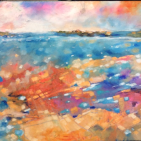 (CreativeWork) Sunset reef 2 by sue bannister. Oil Paint. Shop online at Bluethumb.