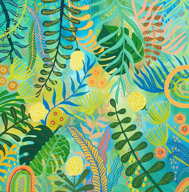 (CreativeWork) Jungle Juju by Sharon Hegarty. Acrylic Paint. Shop online at Bluethumb.