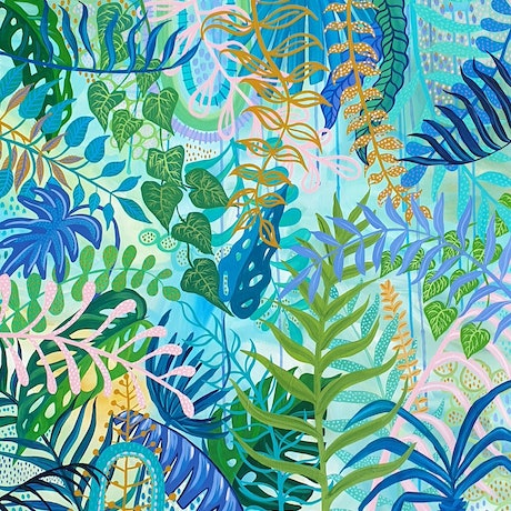 (CreativeWork) Tropical Botanical Blue by Sharon Hegarty. Acrylic Paint. Shop online at Bluethumb.