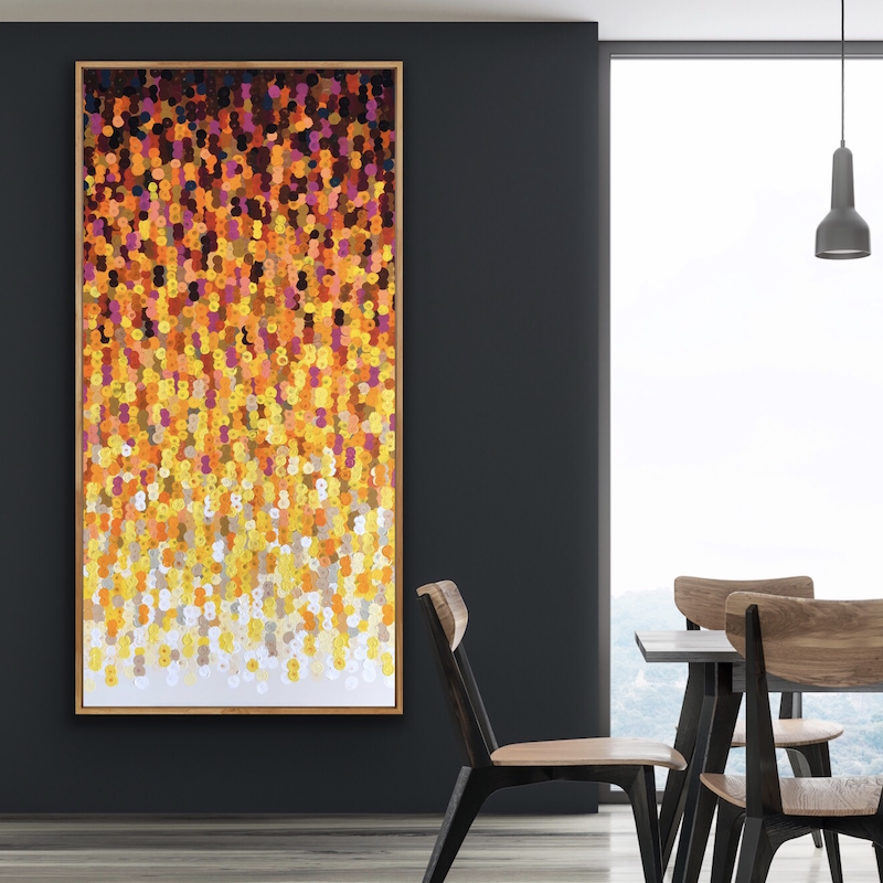 (CreativeWork) Sunshine 92x182 tall framed large abstract by Sophie Lawrence. Acrylic Paint. Shop online at Bluethumb.