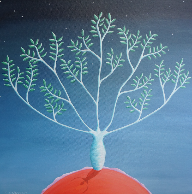 (CreativeWork) Reach For the Stars by Sarah Jane Marchant. Acrylic Paint. Shop online at Bluethumb.
